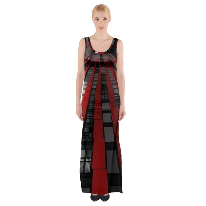 Red Building City Maxi Thigh Split Dress