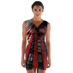 Red Building City Wrap Front Bodycon Dress