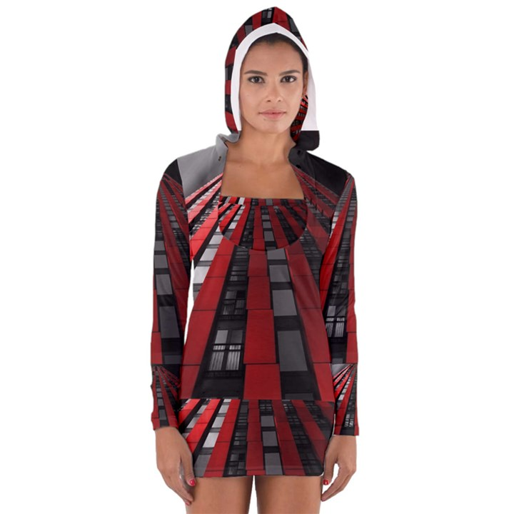 Red Building City Women s Long Sleeve Hooded T-shirt