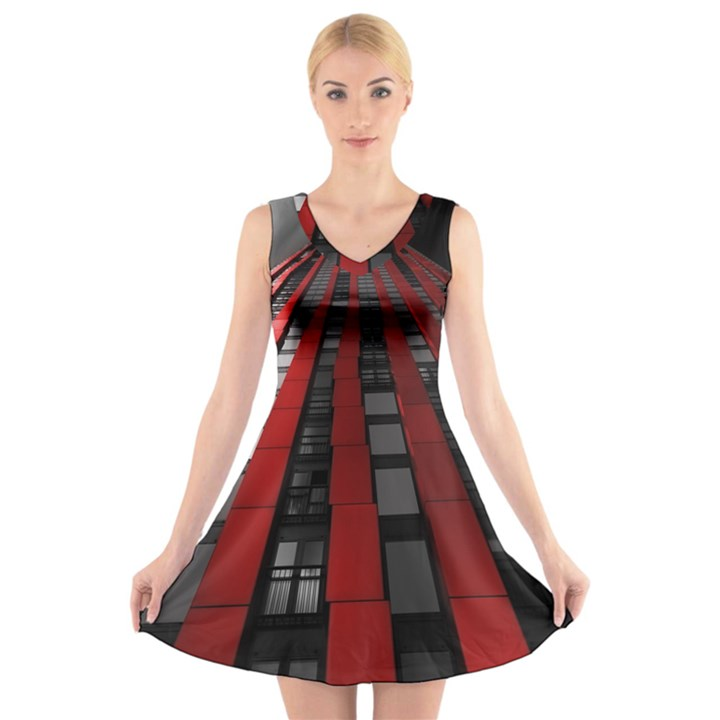 Red Building City V-Neck Sleeveless Skater Dress