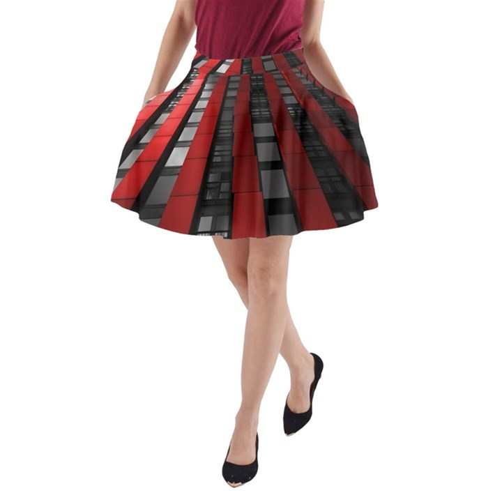 Red Building City A-Line Pocket Skirt