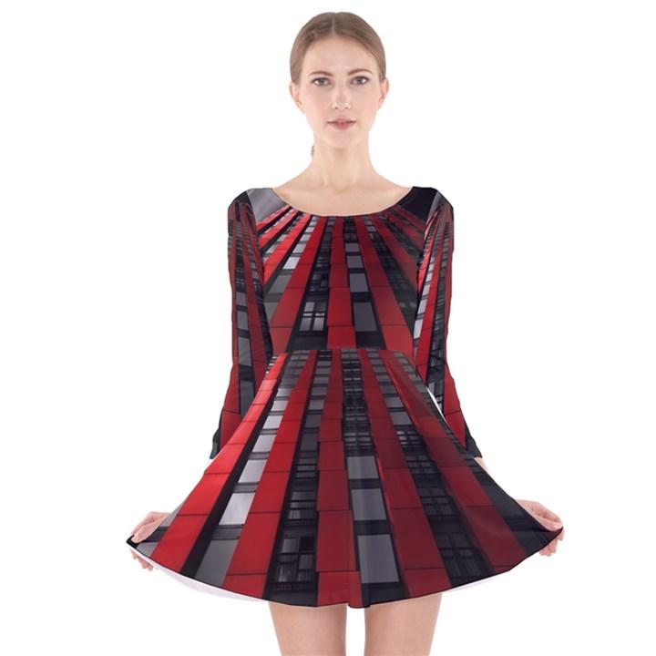 Red Building City Long Sleeve Velvet Skater Dress