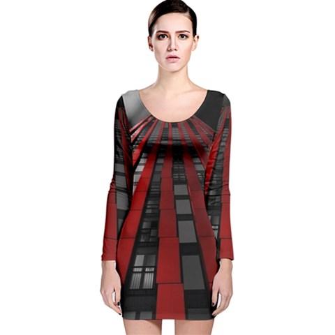 Red Building City Long Sleeve Velvet Bodycon Dress