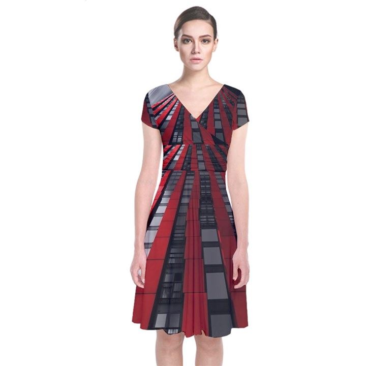 Red Building City Short Sleeve Front Wrap Dress