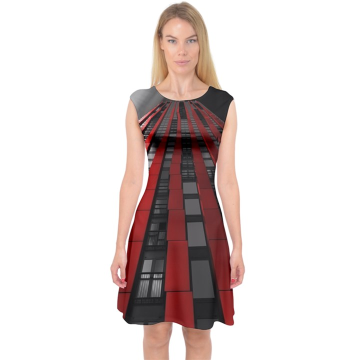 Red Building City Capsleeve Midi Dress