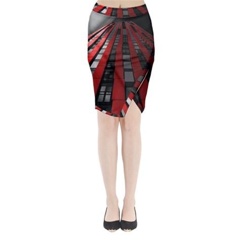 Red Building City Midi Wrap Pencil Skirt