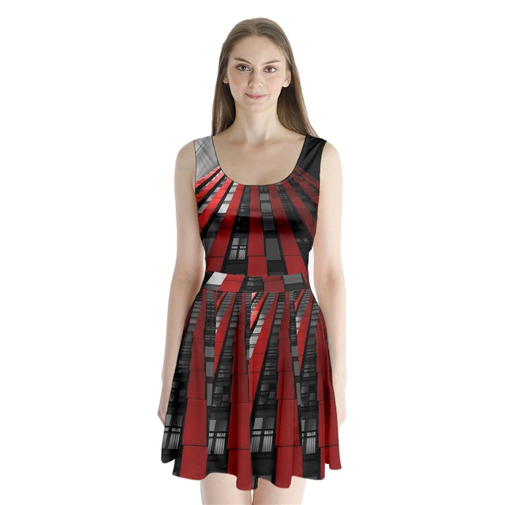 Red Building City Split Back Mini Dress