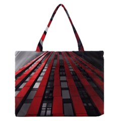Red Building City Medium Zipper Tote Bag