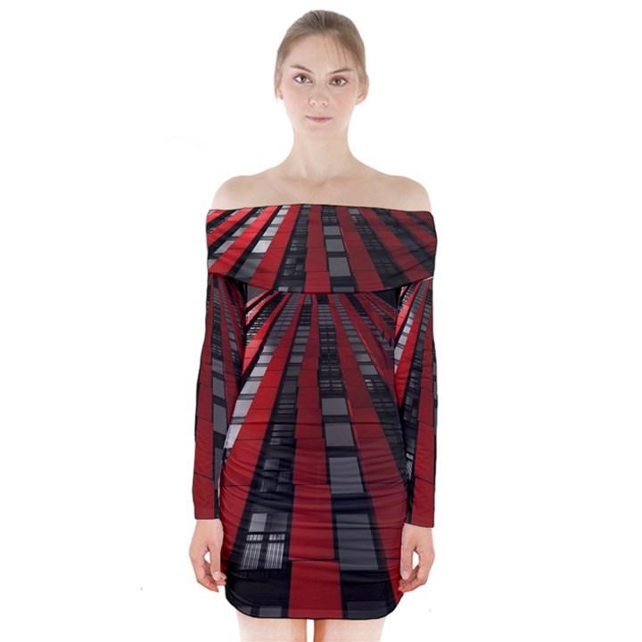 Red Building City Long Sleeve Off Shoulder Dress