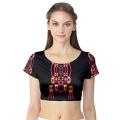 Alphabet Shirt Short Sleeve Crop Top (Tight Fit)