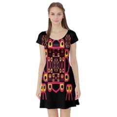 Alphabet Shirt Short Sleeve Skater Dress