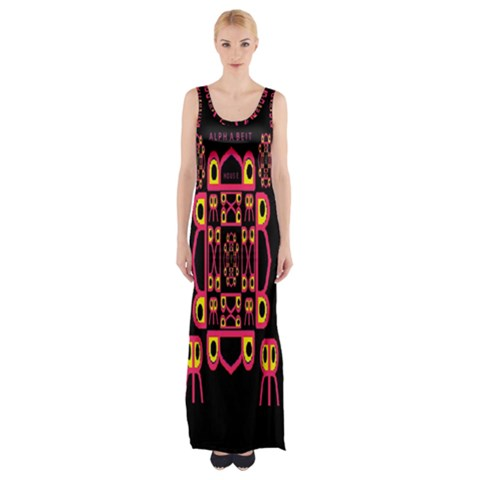 Alphabet Shirt Maxi Thigh Split Dress