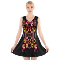 Alphabet Shirt V-Neck Sleeveless Skater Dress