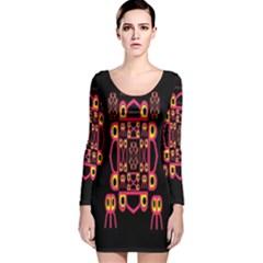 Alphabet Shirt Long Sleeve Velvet Bodycon Dress