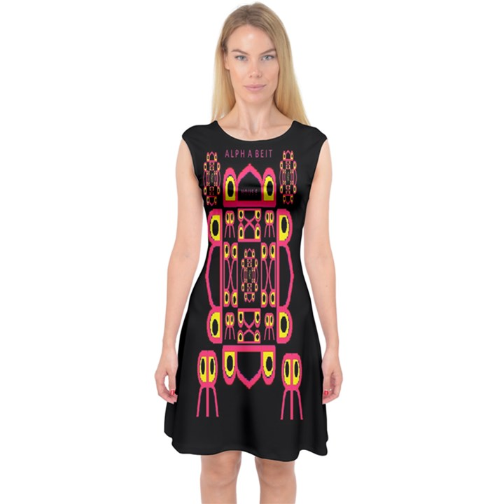 Alphabet Shirt Capsleeve Midi Dress
