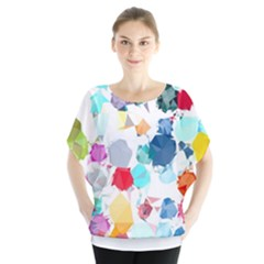Colorful Diamonds Dream Batwing Chiffon Blouse