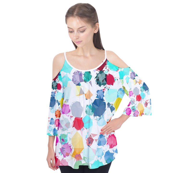 Colorful Diamonds Dream Flutter Sleeve Tee