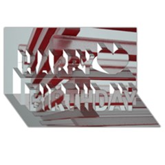 Red Sunglasses Art Abstract  Happy Birthday 3D Greeting Card (8x4)