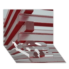 Red Sunglasses Art Abstract  LOVE Bottom 3D Greeting Card (7x5)