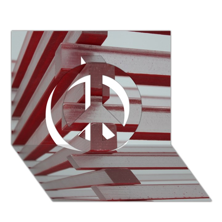 Red Sunglasses Art Abstract  Peace Sign 3D Greeting Card (7x5)
