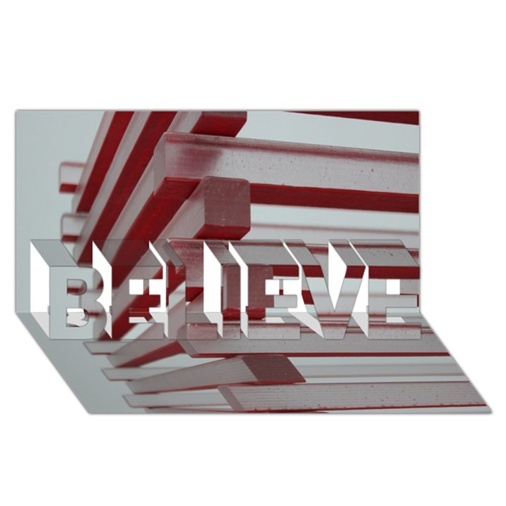 Red Sunglasses Art Abstract  BELIEVE 3D Greeting Card (8x4)