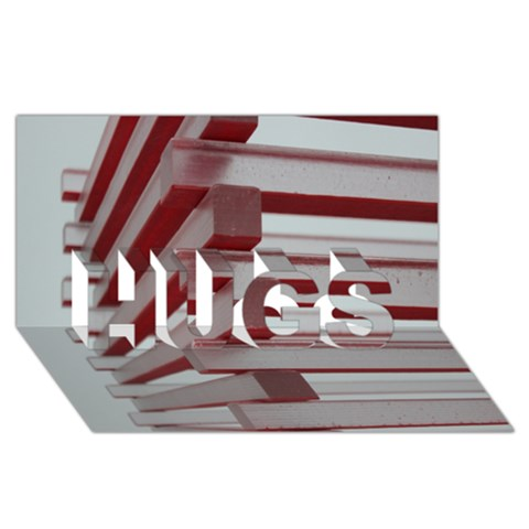 Red Sunglasses Art Abstract  HUGS 3D Greeting Card (8x4)