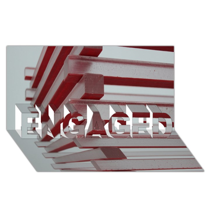 Red Sunglasses Art Abstract  ENGAGED 3D Greeting Card (8x4)