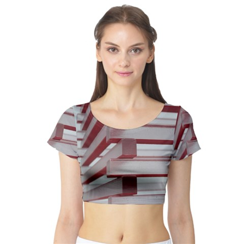 Red Sunglasses Art Abstract  Short Sleeve Crop Top (Tight Fit)
