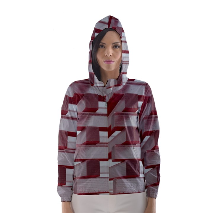 Red Sunglasses Art Abstract  Hooded Wind Breaker (Women)