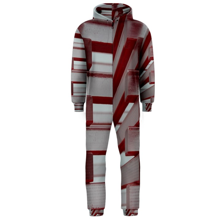 Red Sunglasses Art Abstract  Hooded Jumpsuit (Men)