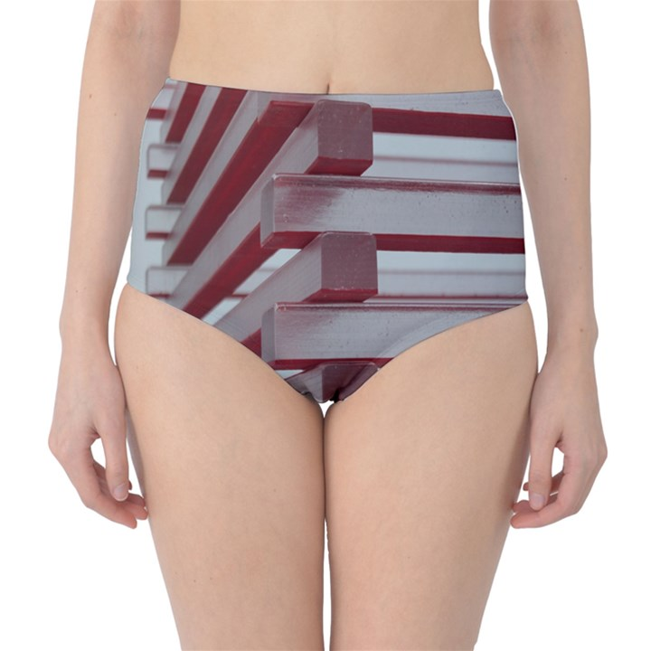 Red Sunglasses Art Abstract  High-Waist Bikini Bottoms