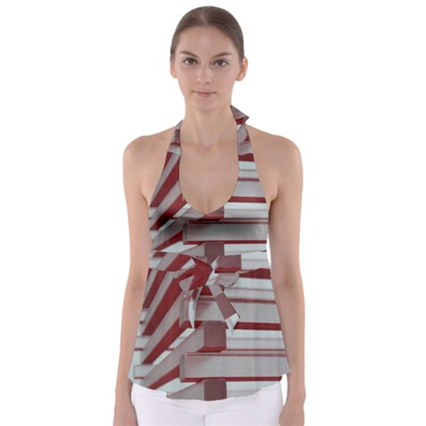 Red Sunglasses Art Abstract  Babydoll Tankini Top