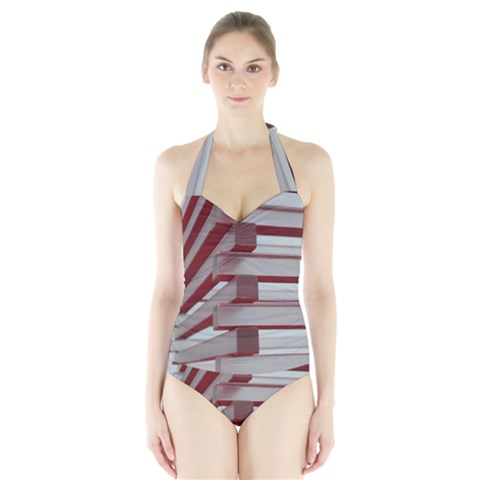 Red Sunglasses Art Abstract  Halter Swimsuit