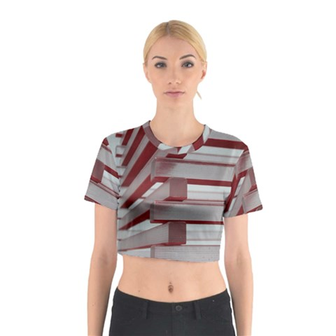 Red Sunglasses Art Abstract  Cotton Crop Top
