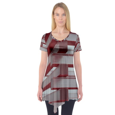 Red Sunglasses Art Abstract  Short Sleeve Tunic