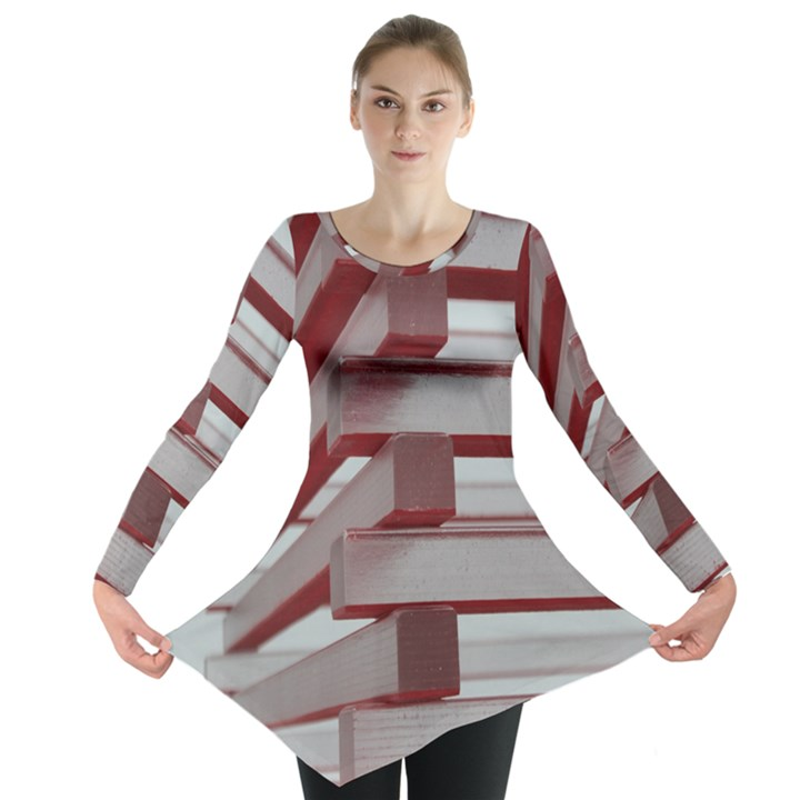 Red Sunglasses Art Abstract  Long Sleeve Tunic