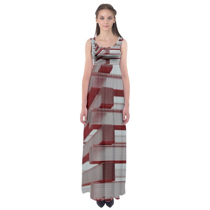 Red Sunglasses Art Abstract  Empire Waist Maxi Dress