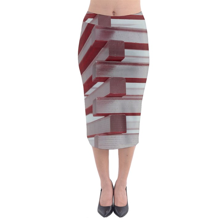 Red Sunglasses Art Abstract  Midi Pencil Skirt