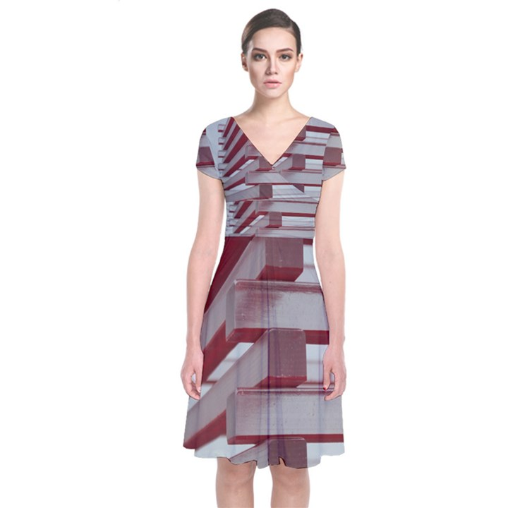 Red Sunglasses Art Abstract  Short Sleeve Front Wrap Dress