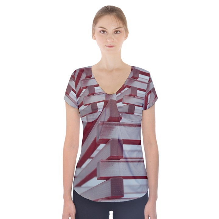 Red Sunglasses Art Abstract  Short Sleeve Front Detail Top