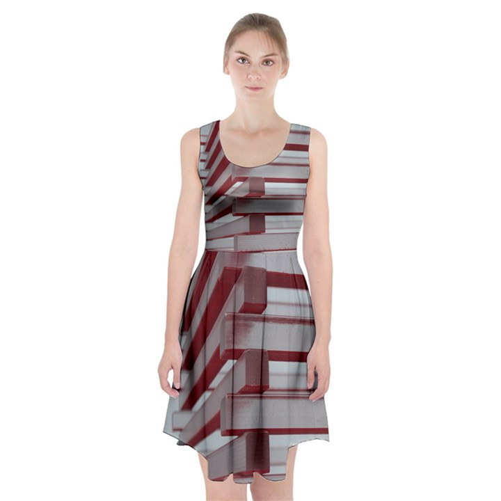 Red Sunglasses Art Abstract  Racerback Midi Dress