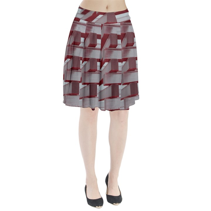 Red Sunglasses Art Abstract  Pleated Skirt