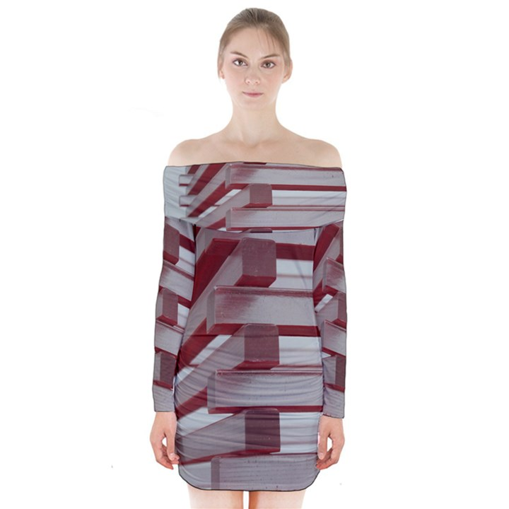 Red Sunglasses Art Abstract  Long Sleeve Off Shoulder Dress