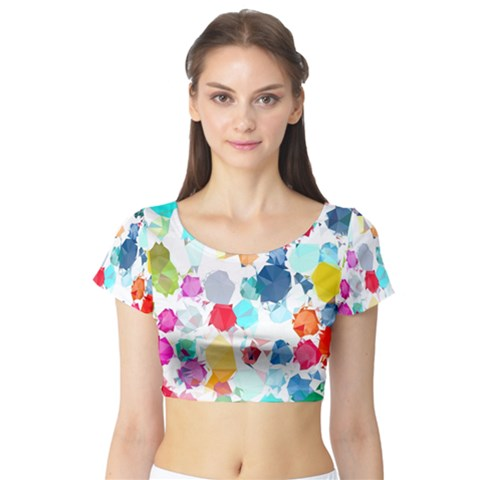 Colorful Diamonds Dream Short Sleeve Crop Top (Tight Fit)