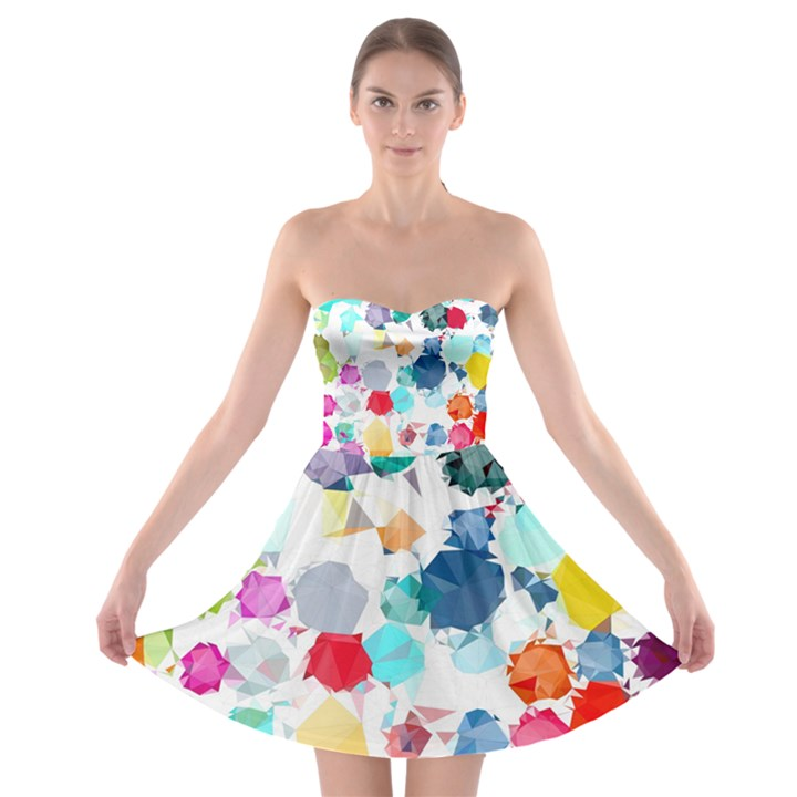 Colorful Diamonds Dream Strapless Bra Top Dress