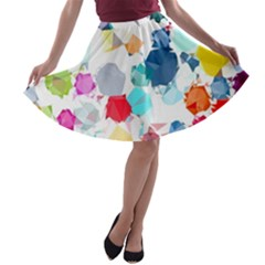 Colorful Diamonds Dream A-line Skater Skirt