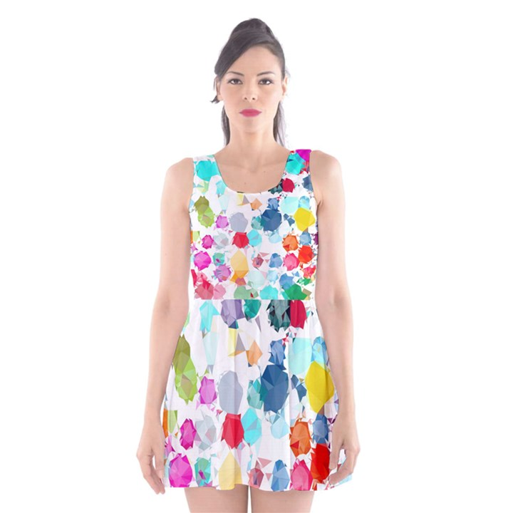 Colorful Diamonds Dream Scoop Neck Skater Dress