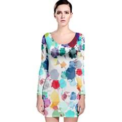 Colorful Diamonds Dream Long Sleeve Velvet Bodycon Dress