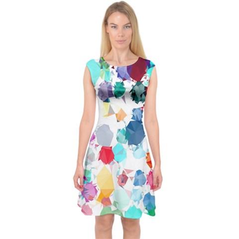 Colorful Diamonds Dream Capsleeve Midi Dress
