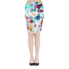 Colorful Diamonds Dream Midi Wrap Pencil Skirt